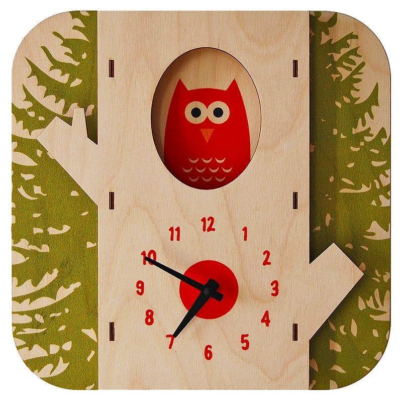 ウォールクロック 木製 壁掛け時計 フクロウ Modern Moose Tree Owl Wall Clock