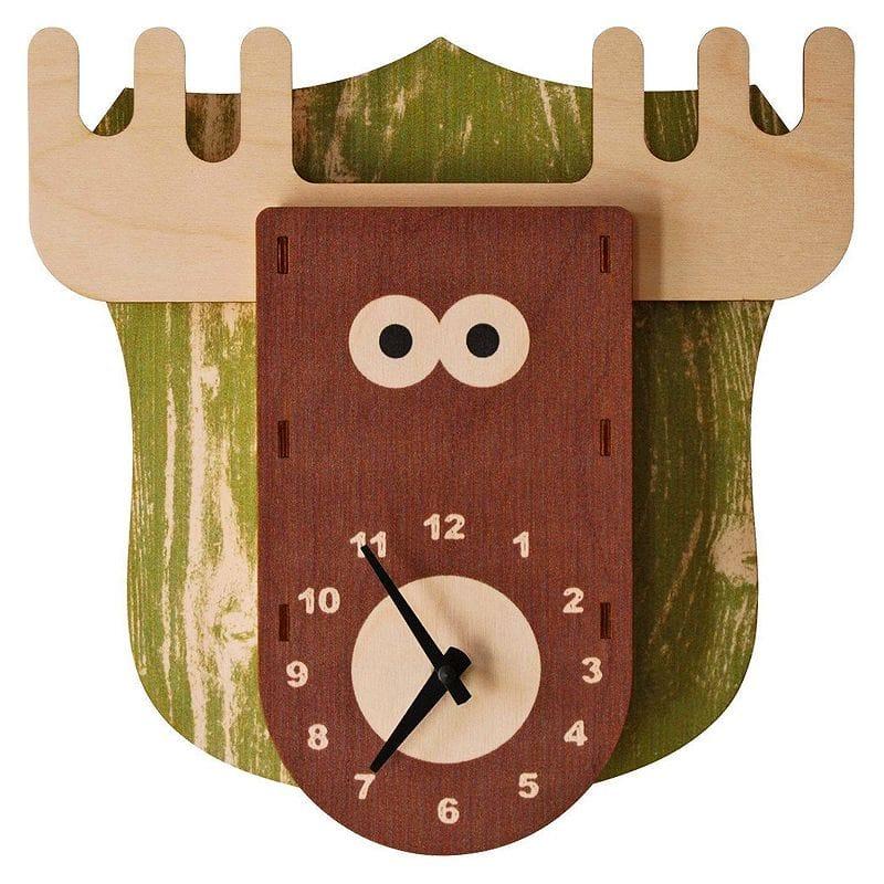 ウォールクロック 木製 壁掛け時計 ヘラジカ シカ Modern Moose Moose Wall Clock