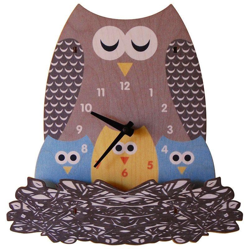ウォールクロック 木製 壁掛け時計 フクロウ 親子 Modern Moose Nest Owl Wall Clock