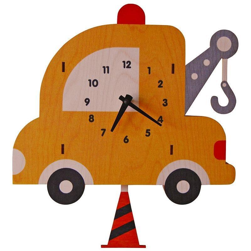ウォールクロック 木製 振り子時計 壁掛け時計 クレーン 車 トラック Modern Moose Tow Truck Pendulum Wall Clock