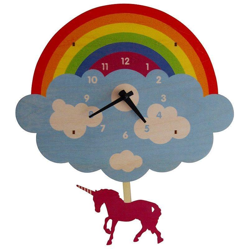 ウォールクロック 木製 振り子時計 壁掛け時計 ユニコーン レインボー Modern Moose Unicorn Pendulum Wall Clock