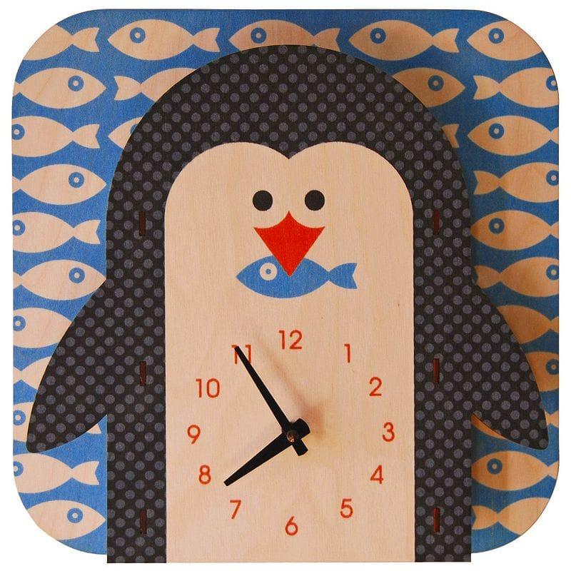 ウォールクロック 木製 壁掛け時計 ペンギン Modern Moose Penguin Wall Clock