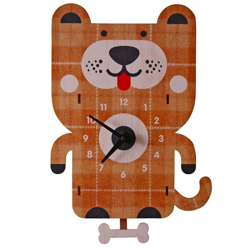 ウォールクロック 木製 振り子時計 壁掛け時計 イヌ ドッグ Dog Pendulum Wall Clock