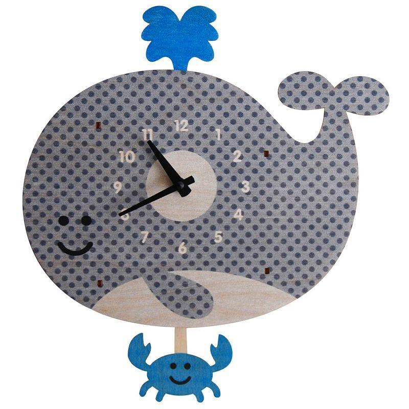 ウォールクロック 木製 振り子時計 壁掛け時計 クジラ カニ Modern Moose Whale Pendulum Wall Clock