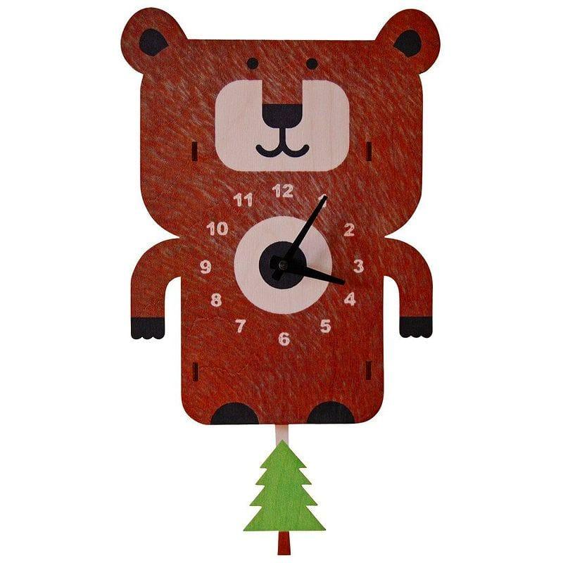 ウォールクロック 木製 振り子時計 壁掛け時計 クマ ベアー Modern Moose Bear Pendulum Wall Clock