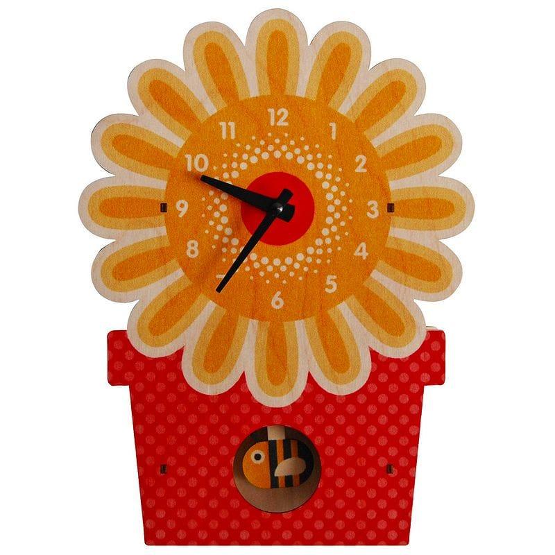 ウォールクロック 木製 振り子時計 壁掛け時計 フラワー 花 Modern Moose Flowerpot Pendulum Wall Clock