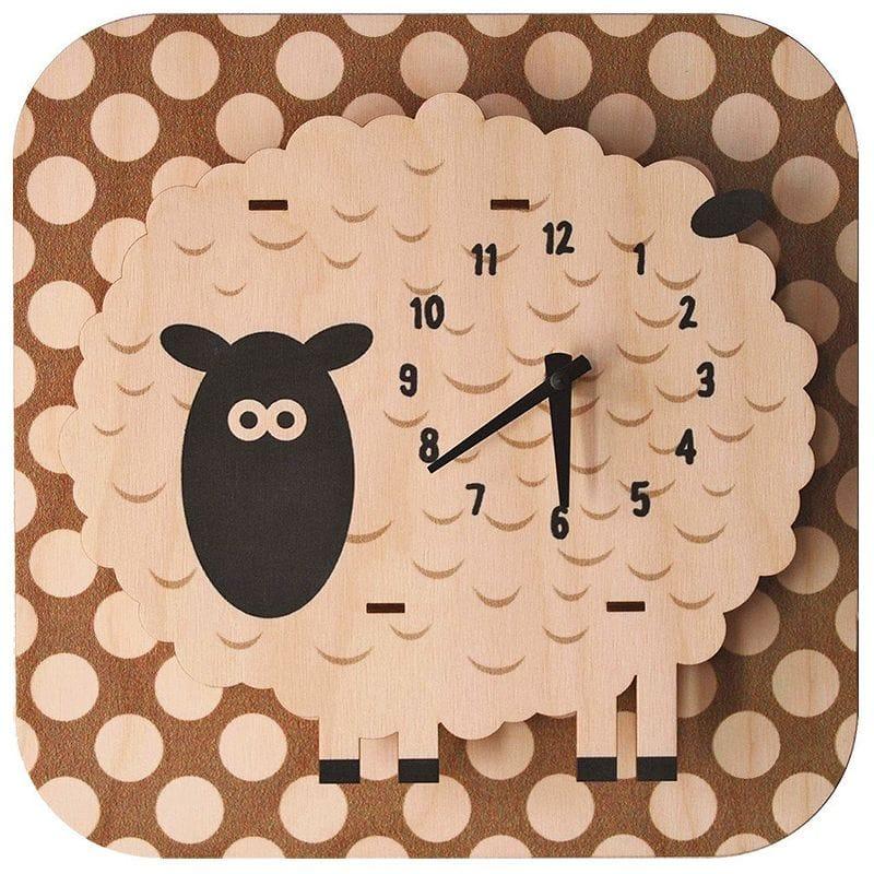 ウォールクロック 木製 壁掛け時計 ヒツジ Modern Moose Sheep Wall Clock