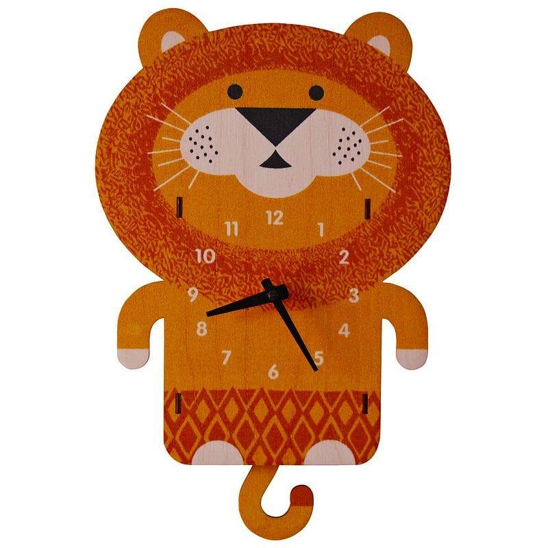 ウォールクロック 木製 振り子時計 壁掛け時計 ライオン Modern Moose Lion Pendulum Wall Clock