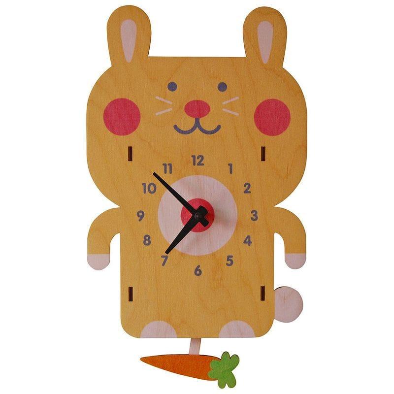 ウォールクロック 木製 振り子時計 壁掛け時計 ウサギ Modern Moose Rabbit Pendulum Wall Clock