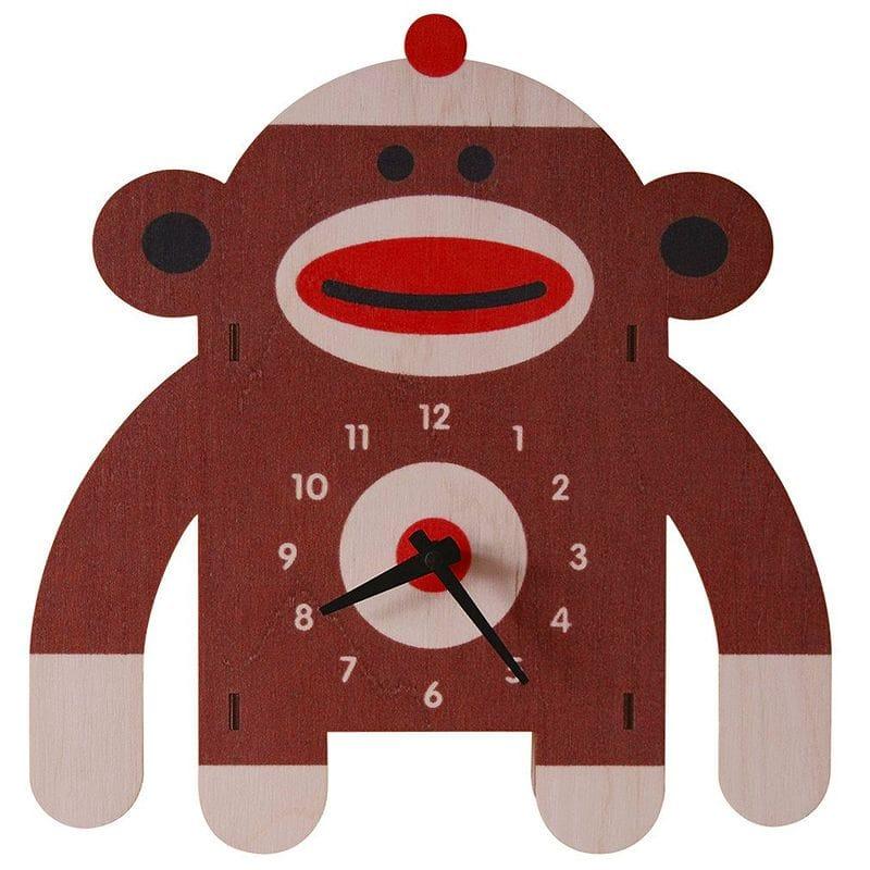 ウォールクロック 木製 壁掛け時計 サル Modern Moose Sockmonkey Wall Clock