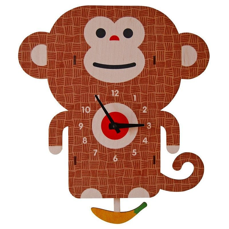 ウォールクロック 木製 壁掛け時計 サル Modern Moose Monkey Pendulum Wall Clock