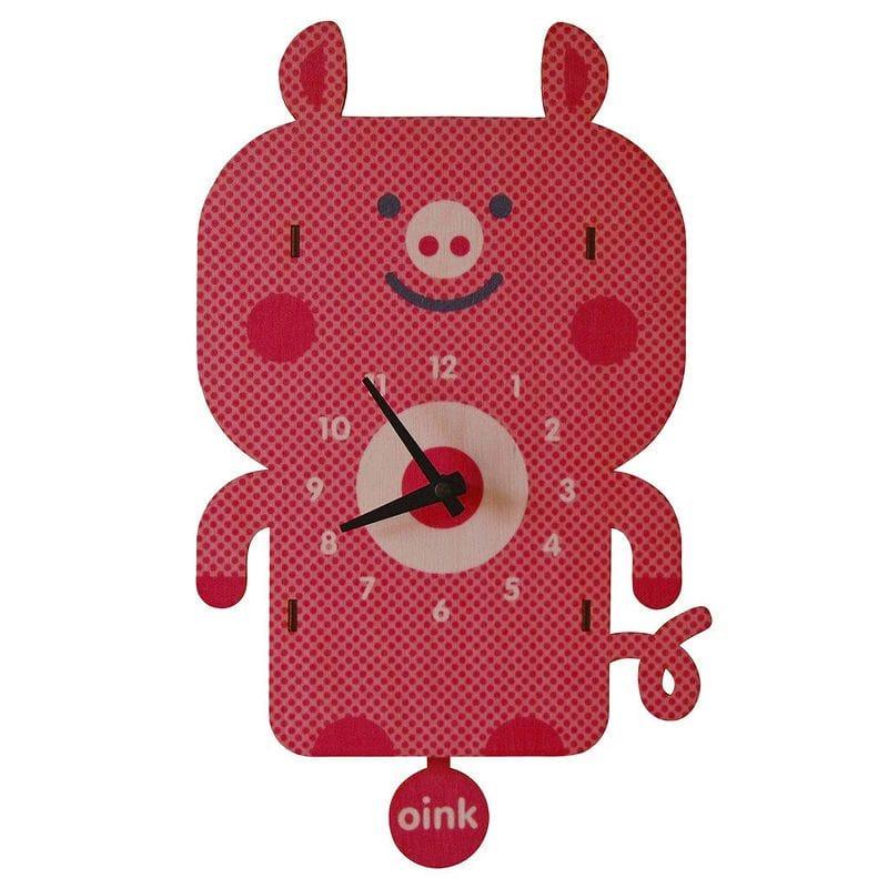 ウォールクロック 木製 振り子時計 壁掛け時計 ブタ Modern Moose Pig Pendulum Wall Clock