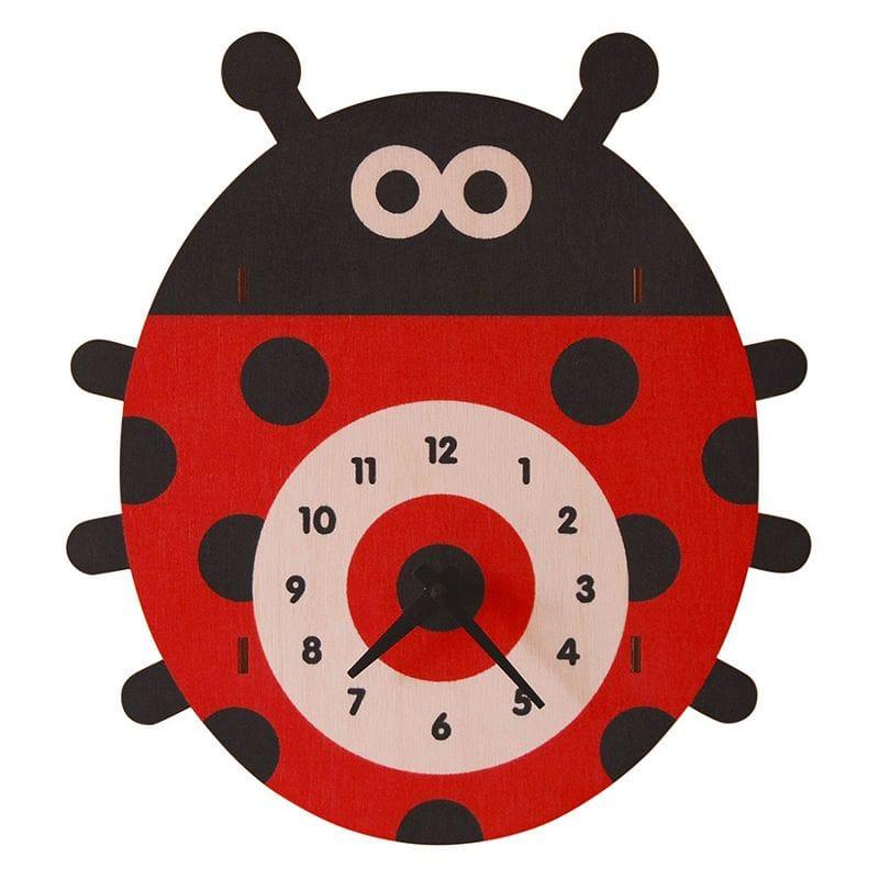 ウォールクロック 木製 壁掛け時計 てんとう虫 Modern Moose Ladybug Wall Clock