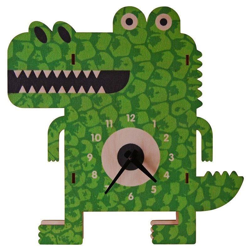 ウォールクロック 木製 壁掛け時計 ワニ Modern Moose Archie Alligator Wall Clock