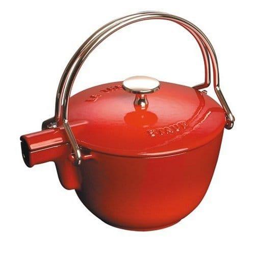 本物 フランス ストウブ ヤカン(ケトル) 0.95L 赤(レッド) Staub La Theiere Round Teapot Red, 健康寝具専門店 くじめ屋 c0de07f6