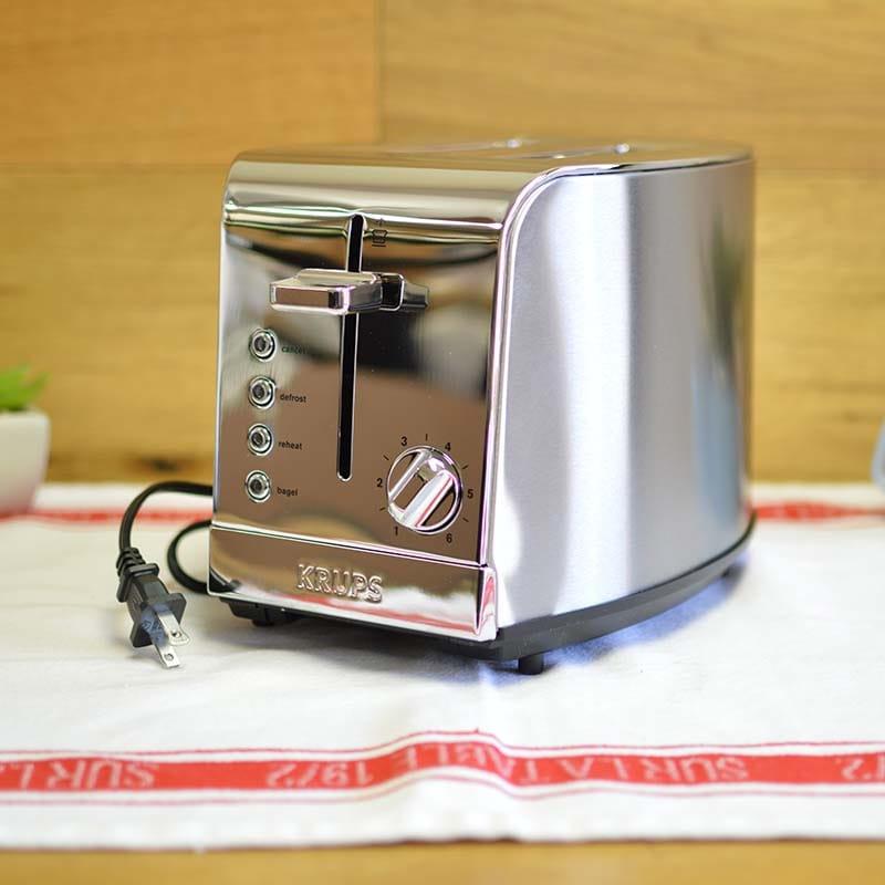 クラップス ブレックファーストセット 2枚焼きトースター KRUPS KH732D Breakfast Set 2-Slice Toaster with Brushed and Chrome Stainless Steel Housing, Silver 家電