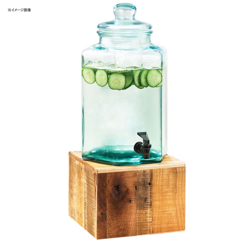 ビンテージ ガラス ドリンクディスペンサー 7.5L 木製ベース サーバー Cal-Mil 3422-2 2 Gallon Vintage Glass Beverage Dispenser with Wooden Base