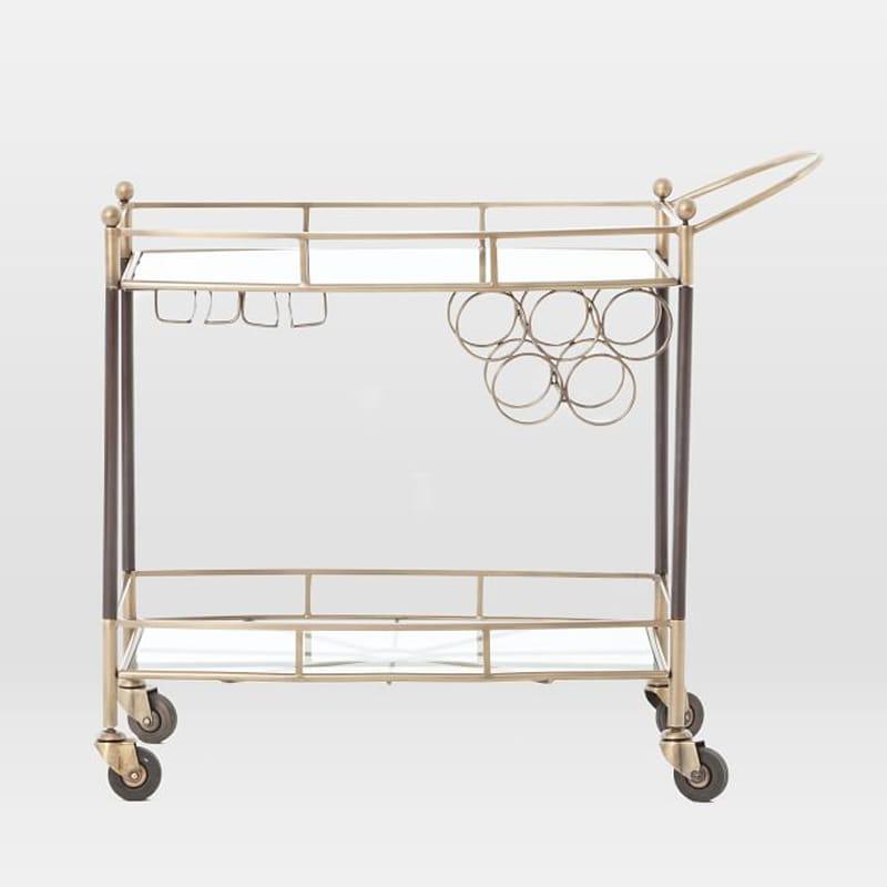 アンティーク バーカート ガラス板 ボトルホルダー ワイングラスホルダー付 Aster Bar Cart