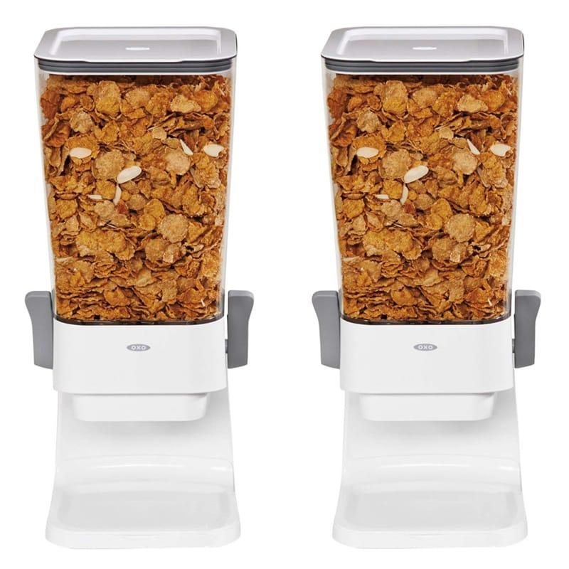 オクソ シリアル ディスペンサー 2個セット 容器 OXO Good Grips Countertop Cereal Dispenser, Clear/White (Pack of 2)