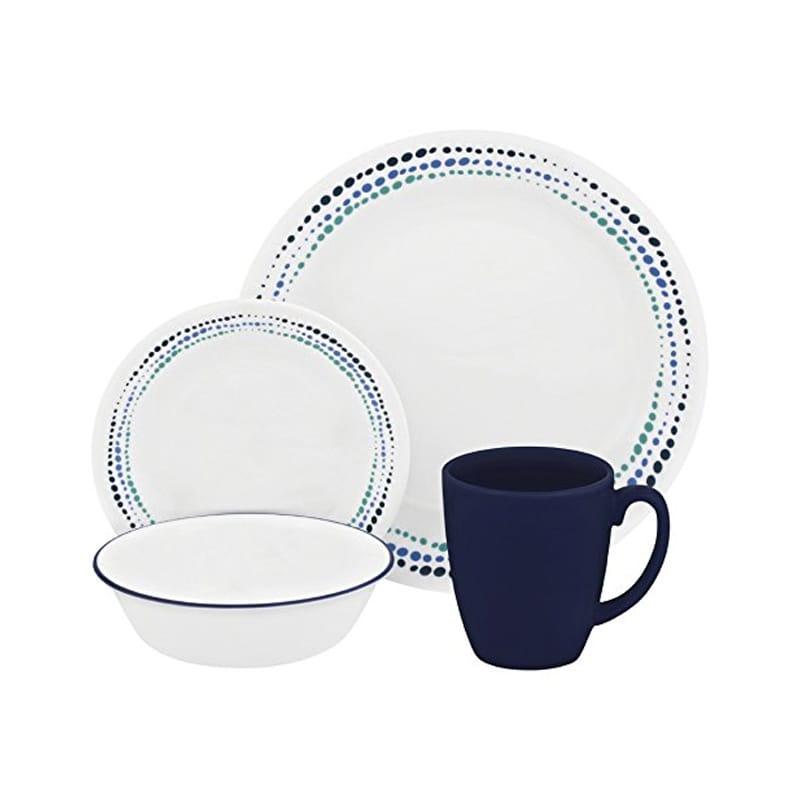コレール リビングウェア オーシャンブルー 4組 16点セット Corelle Livingware 16-Piece Dinnerware Set, Ocean Blues, Service for 4