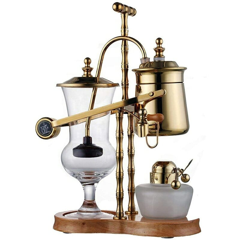 Diguo 帝国 2代目 サイフォン式 コーヒーメーカー ゴールド Diguo Gen-2 Belgium / Belgian Luxury Royal Balancing Siphon Coffee Maker. Wooden Base, T-Handle, Easy to Clean Take Apart Water Retainer and Permanent Filter