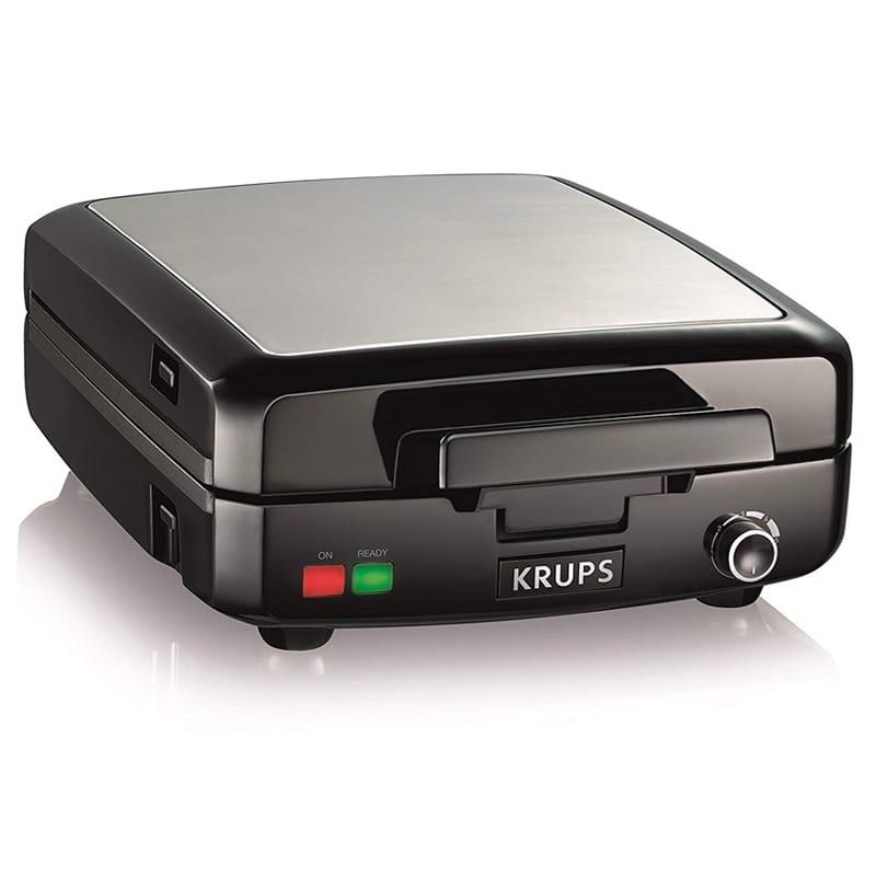 クラップス ワッフルメーカー 4枚焼 焼き色調節 プレート脱着可 KRUPS GQ502D Adjustable Temperature Belgian Waffle Maker with Removable Plates, 4-Slice 家電