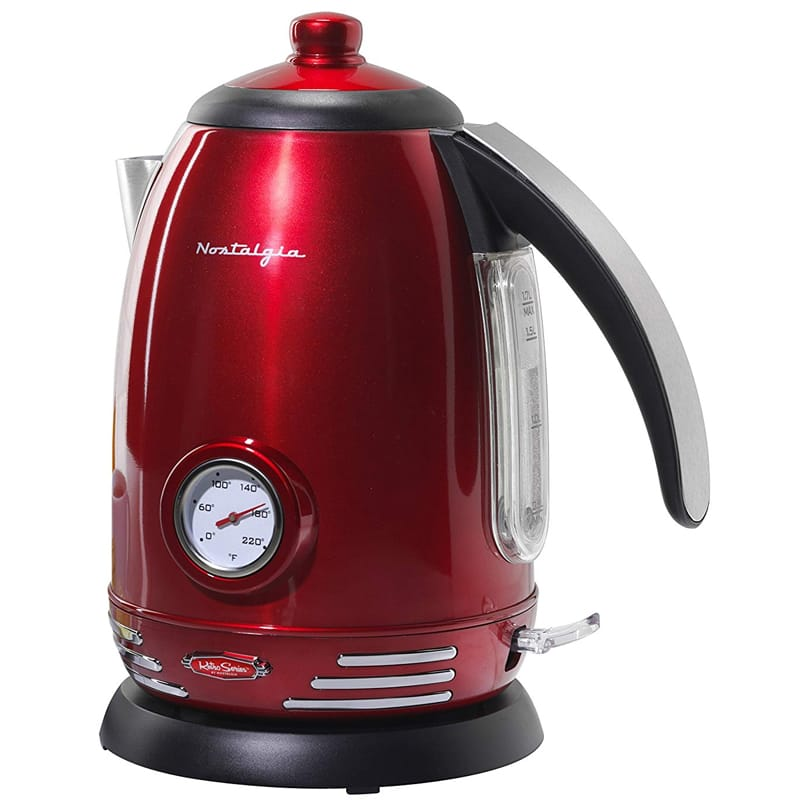 ノスタルジア レトロ 電気ケトル 1.7L 温度計付 Nostalgia RWK150 Retro 1.7-Liter Stainless Steel Electric Water Kettle with Strix Thermostat