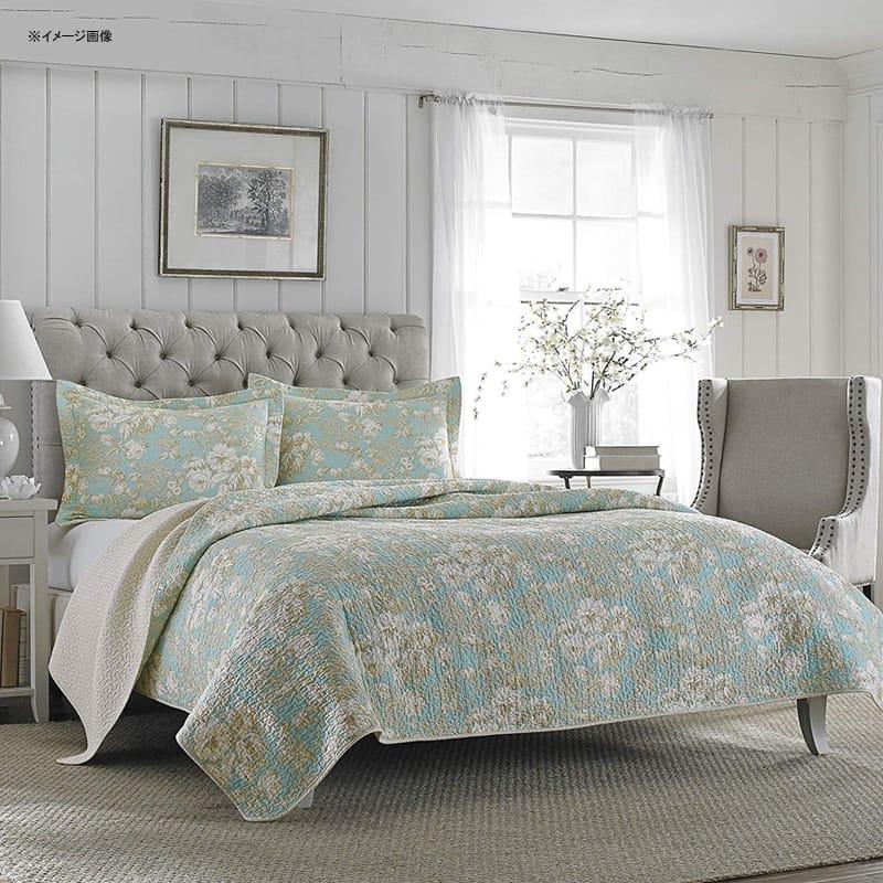 ローラ アシュレイ キルト 枕カバーセット 花柄 パステルグリーン リバーシブル コットン Laura Ashley Brompton Serene Reversible Quilt Set, 206334