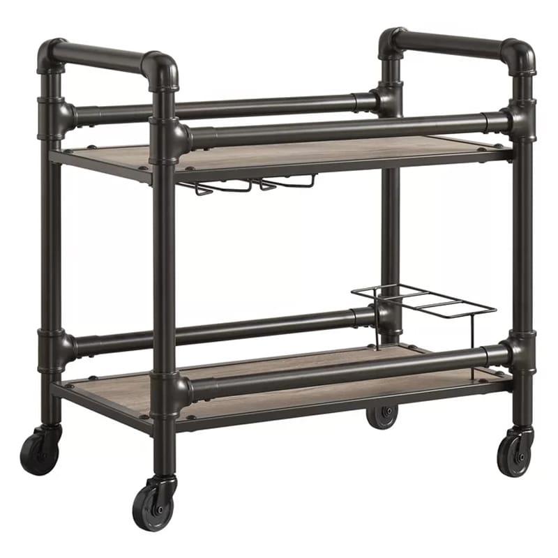 インダストリアル ビンテージ アンティーク レトロ バーカート 2段 グラスホルダー ボトルホルダー付 Bonifay Bar Cart