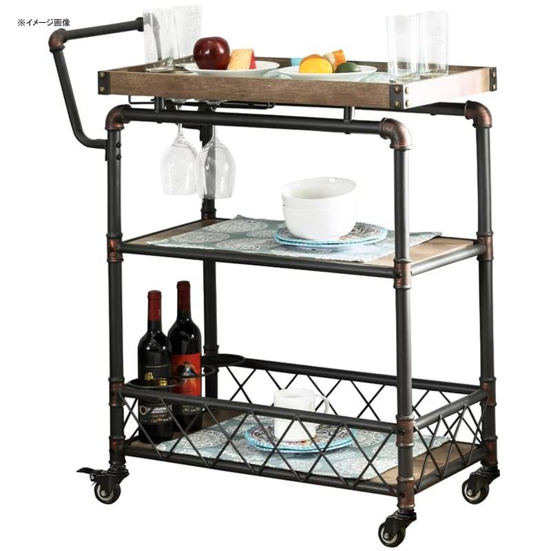 アンティーク ビンテージ レトロ バーカート 3段 グラスホルダー付 インダストリアル Oakfield Bar Cart