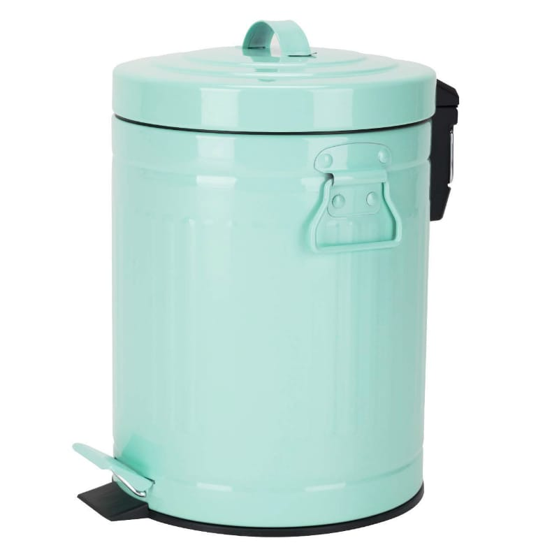 レトロ ビンテージ トラッシュカン ゴミ箱 レトロ 蓋付 5L Trash Can with Lid Round Waste Bin Soft Close, Retro Vintage Metal Garbage Bin