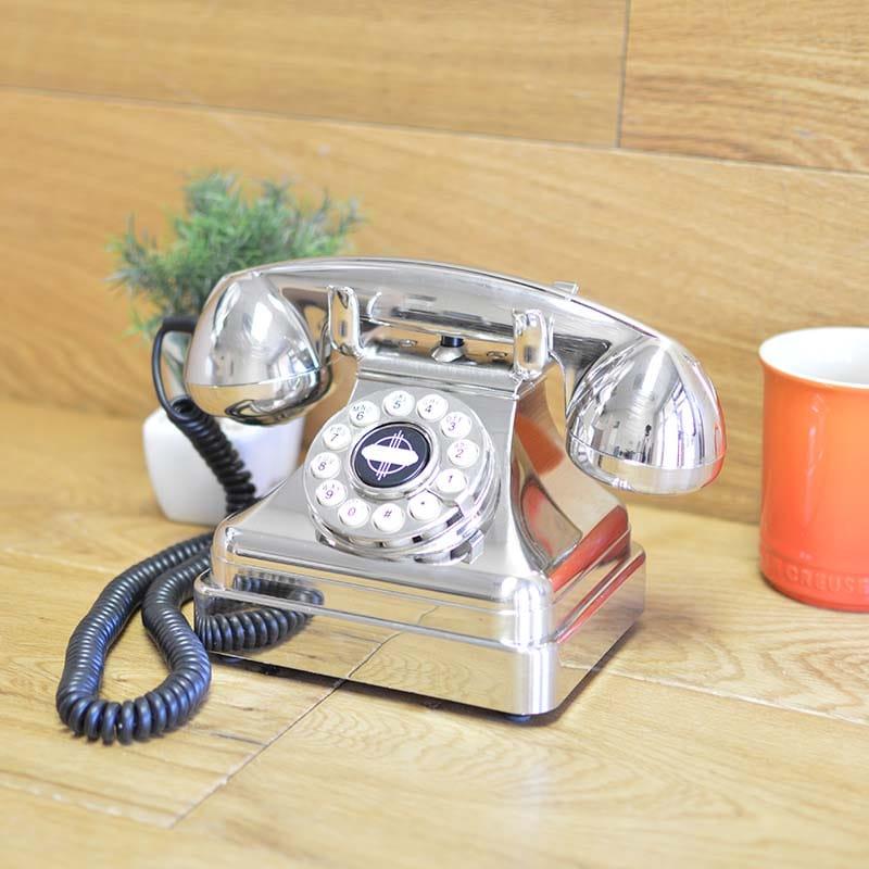 アメリカ クロスリー ケトルクラシックデスク電話 プッシュボタン式 クロム Crosley CR62-BC Kettle Classic Desk Phone with Push Button Technology, Brushed Chrome