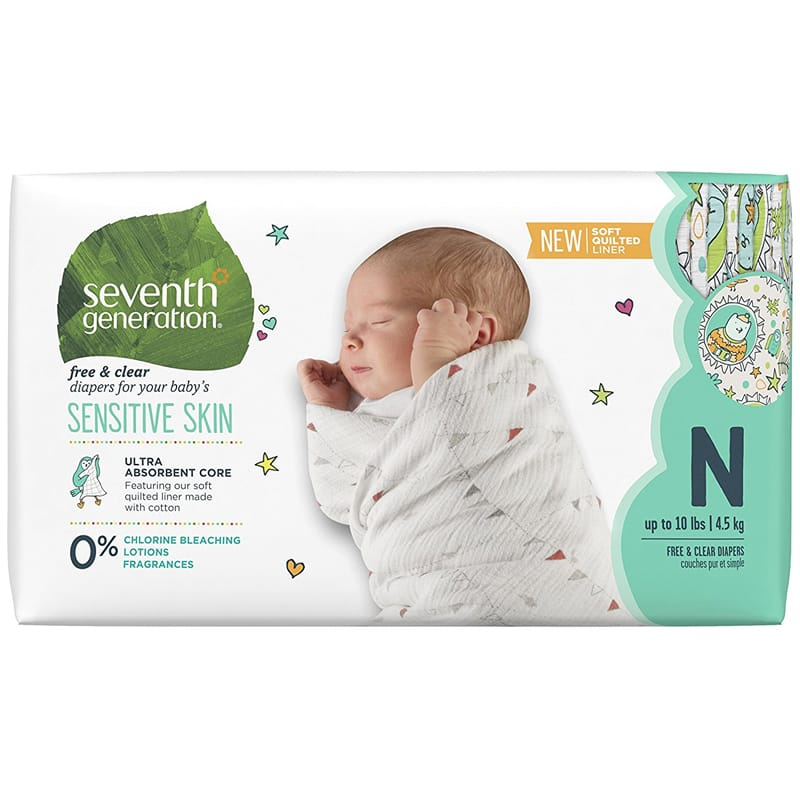 セブンスジェネレーション 新生児用 紙オムツ 144枚 敏感肌 Seventh Generation Baby Diapers, Free & Clear for Sensitive Skin with Animal Prints, Newborn, 144 count