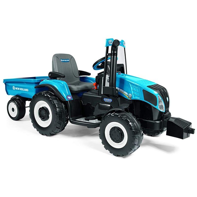子供用電動自動車 ベグペレーゴ ニューオーランド トラクター ブルー FMラジオ付 Peg Perego New Holland T8 Tractor & Trailer, Blue【代引不可】