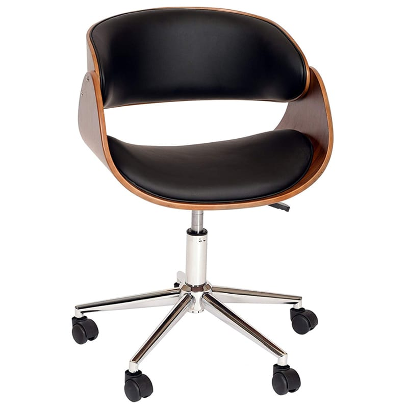 オフィス チェアー 布張り レザー 椅子 事務所 お洒落 Armen Living LCJUOFCHBL Julian Office Chair in Black Faux Leather and Chrome Finish