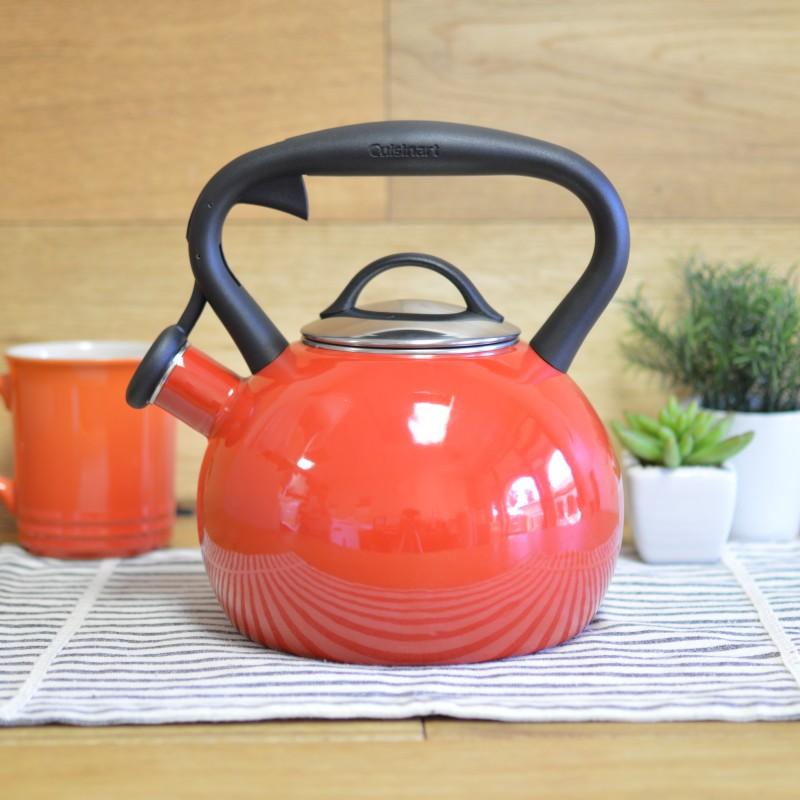ケトル クイジナート ホーロー やかん 笛吹き IH対応 2L 赤 Cuisinart Valor 2 Qt. Tea Kettle - Red CTK-EOSTRR