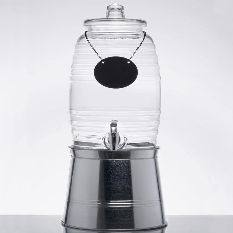 ドリンクサーバー 模様入 ガラスドリンクディスペンサー 9.4L ボトルタグ インフューザー メタルスタンド付 レストラン カフェ ホテル Acopa 2.5 Gallon Barrel Glass Beverage Dispenser with Infusion Chamber, Chalkboard Sign, and Metal Stand 553200025SKT
