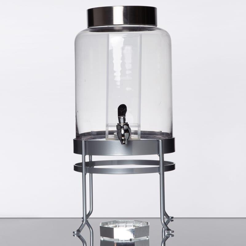 【送料無料】 ドリンクサーバー ガラスドリンクディスペンサー 7.5L インフューザー メタルスタンド付 レストラン カフェ ホテル Cal-Mil 1580-2INF-74 2 Gallon Silver Soho Glass Beverage Dispenser with Infusion Chamber 21115802INF7