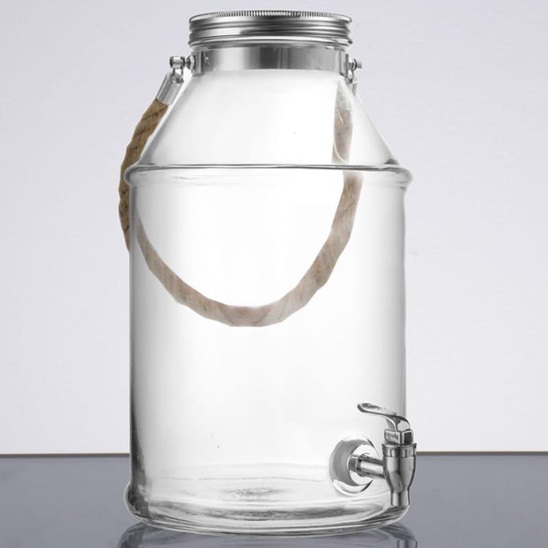ドリンクサーバー ガラスドリンクディスペンサー 6.4L ロープハンドル付 レストラン カフェ ホテル 1.7 Gallon Glass Beverage Dispenser with Rope Handle 494210454GB