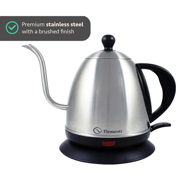 グースネック 電気ケトル ドリップ ステンレス 1L Elementi Premier Electric Gooseneck Kettle for Pour Over Coffee and Tea 家電