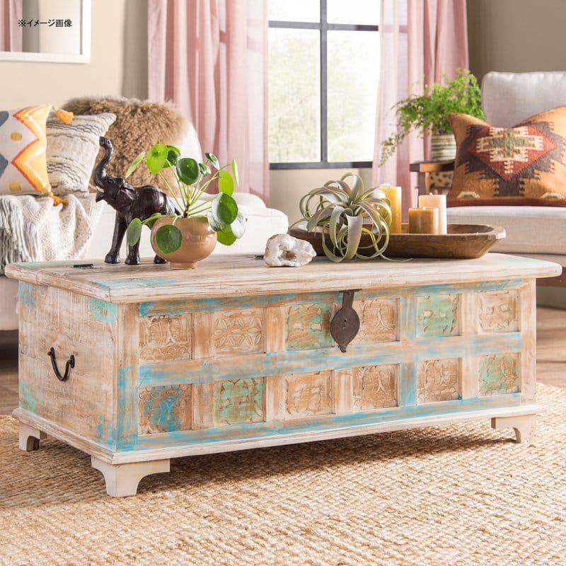 コーヒーテーブル トランク型 木製 ビンテージ アンティーク かわいい おしゃれ World Menagerie Bodella Storage Coffee Table WLDM2611【代引不可】