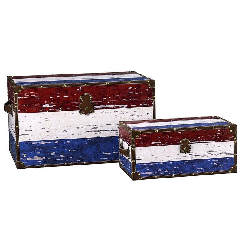 トランク トリコロール 木製 ストレージ ボックス 箱 2個セット Household Essentials 2 Piece Decorative Storage Trunk Set