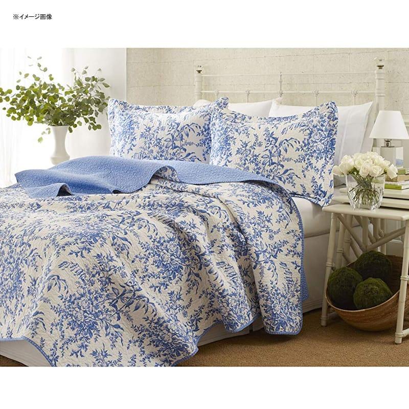 ローラアシュレイ キルト 枕カバーセット 花柄 ブルー リバーシブル コットン Laura Ashley Bedford Cotton Reversible Quilt Set