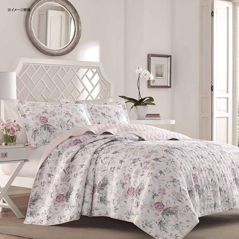 ローラアシュレイ キルト 枕カバーセット 花柄 フローラル ピンク リバーシブル コットン Laura Ashley Breezy Floral Pink Quilt Set