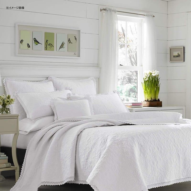 ローラアシュレイ キルト 枕カバーセット レース編み 白 ホワイト リバーシブル コットン Laura Ashley 221296 Heirloom Crochet Quilt Set,White