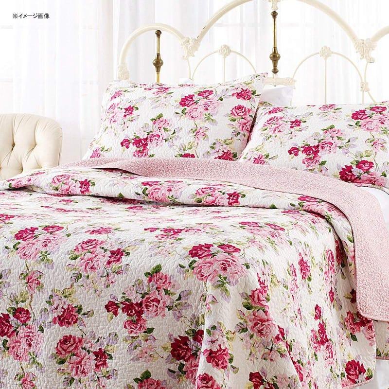 ローラアシュレイ キルト 枕カバーセット 花柄 バラ ピンク リバーシブル コットン リディア Laura Ashley Lidia Quilt Set, Pink