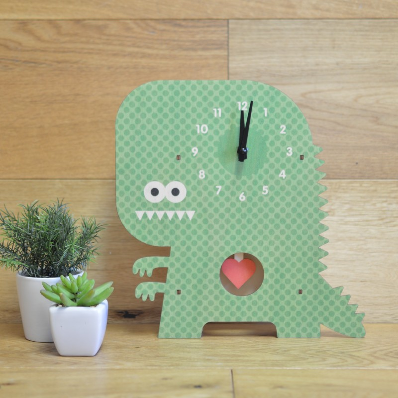 ウォールクロック 木製 振り子時計 壁掛け時計 恐竜 かいじゅう Modern Moose Clockzilla Pendulum Wall Clock