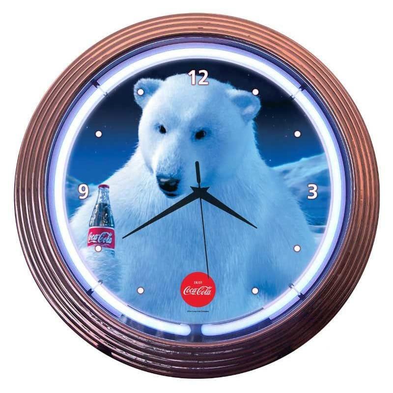 コカコーラ ポーラベア ネオンウォールクロック 直径38cm 掛け時計 シロクマ レトロ Neonetics Drinks 15