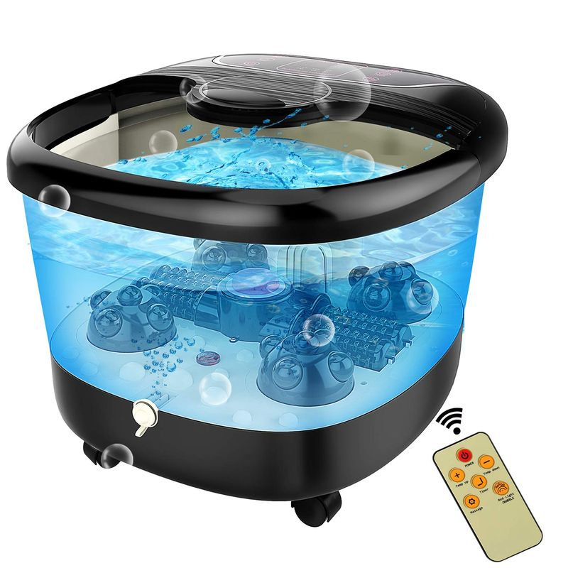 フットバス 温度調節 バブル 電動ローラー バイブレーション マッサージ ACEVIVI Foot Spa Bath Massager with Heat and Massage and Bubble Jets, Motorized Shiatsu Massage Ball + Motorized Maize Roller + Rotatable Pedicure Stone, Red Light 家電