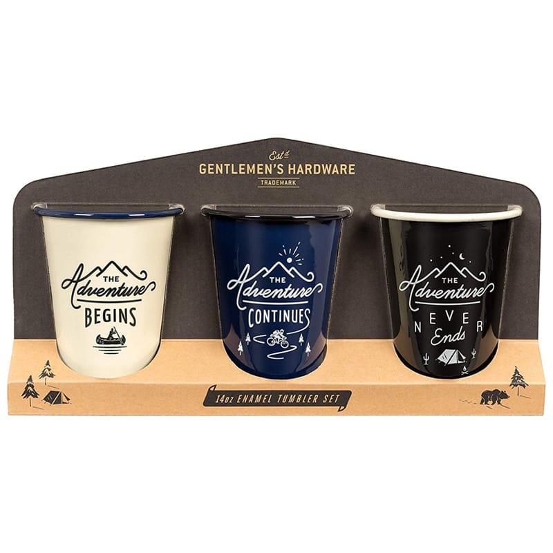 マグカップ キャンピングコーヒータンブラー 3個セット エナメル ホーロー アウトドア キャンプ 結婚祝い Gentlemen's Hardware Enamel Coffee Tumblers/Mugs, Set of 3, Separate Colors
